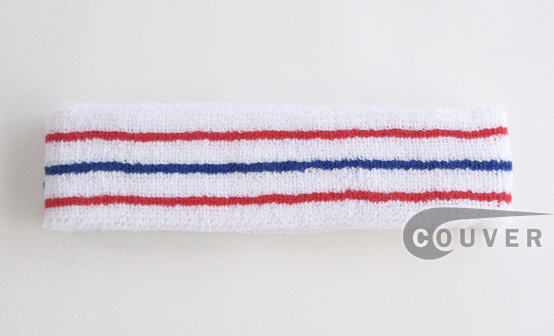 Red and Blue Striped Tennis Style COUVER Head Sweatband Wholesale 12PCs