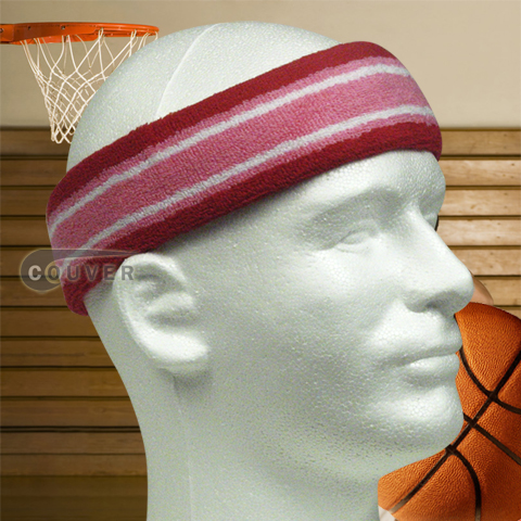 Basketball Headband Pro Multiple Colored Red Pink White 3pieces