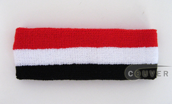 Couver black yellow red striped head sweatband HB510-BLK_WHT_RED