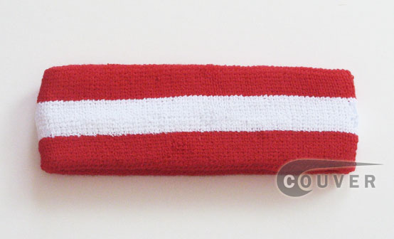 Red White Red striped head sweatband HB85-WHT_RED