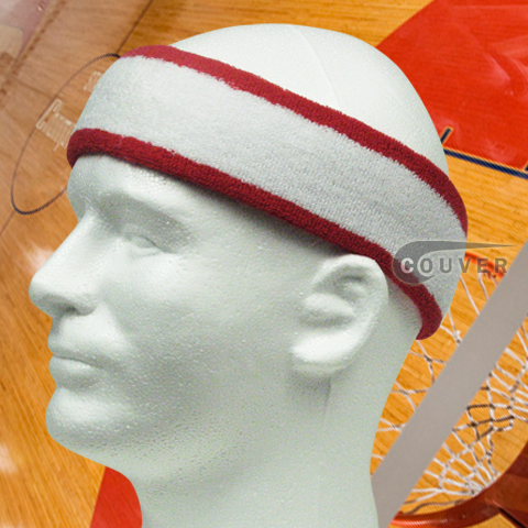 White with Red trim Large Basketball Head Sweatband