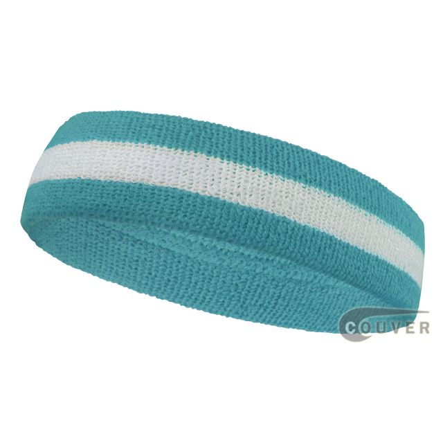 Wholesale sky blue white 2color sports sweat headbands terry clo