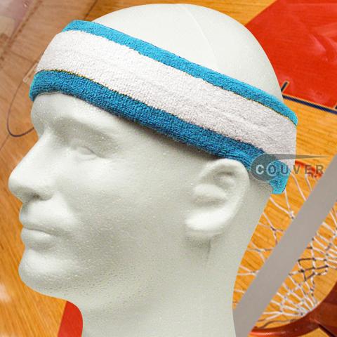 White with Sky Blue trim Large Basketball Head Sweatband