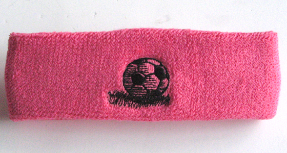 Soccer Ball Headband - Embroidery Sample bright pink