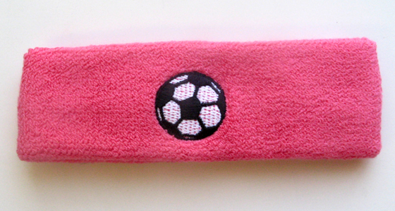 Soccer Headband with Soccer Ball Logo Embroidery Bright Pink