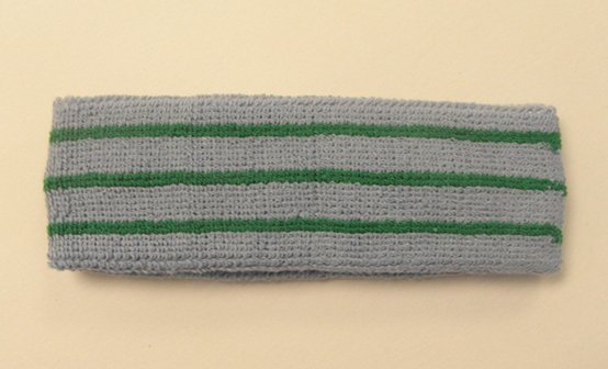 Steel blue with green lines tennis style headbands wholesale