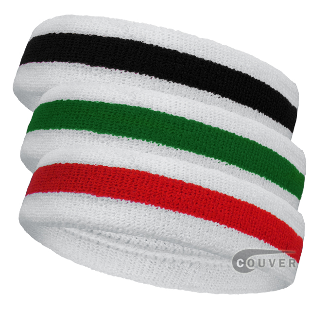 Stripe Sports Sweat Headbands Cotton Terry 3Pieces Set