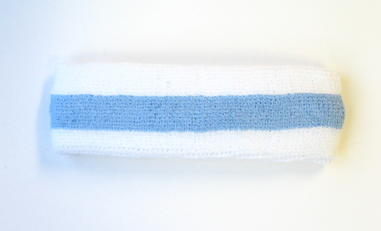 Sky blue stripe sports tennis head bands wholesale [12 pieces]