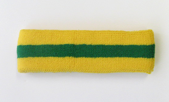 Couver Yellow Green Yellow striped head sweatband HB85-GRN_YLW