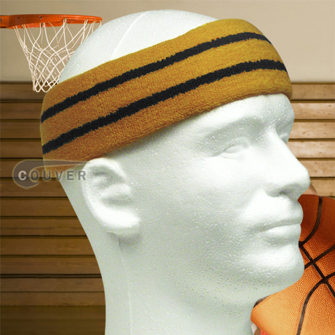 Large Basketball Sweat Headband Pro Black Stripes in Tan 3PCs