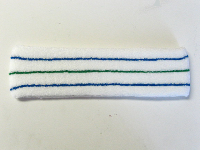 White with Blue-Green-Blue lines Tennis Large Headbands‏