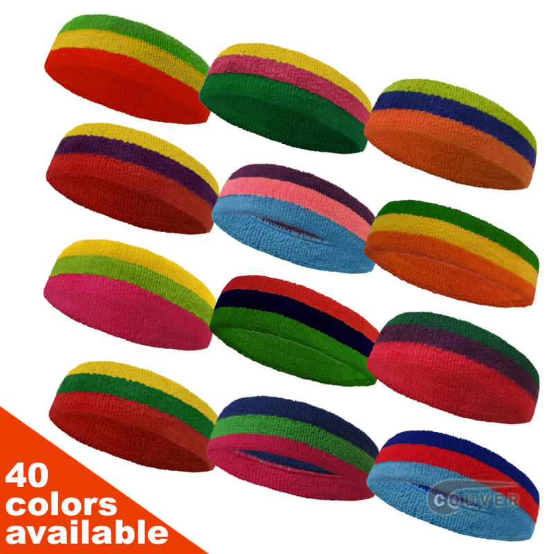 Couver Triple Color Striped sports head sweatbands Wholesale[12 pieces]