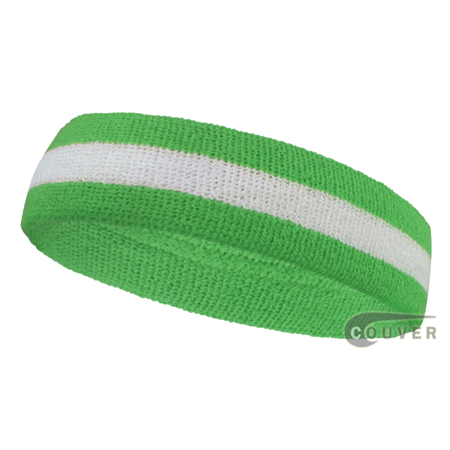 Bright Lime Green White Striped Head Sweatbands Wholesale 12PCS
