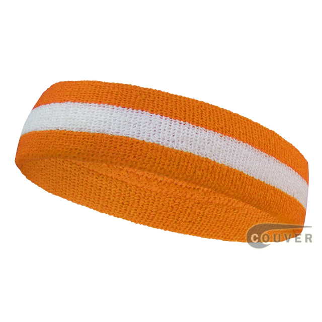 Orange white orange wholesale headband sweat 2color stripe