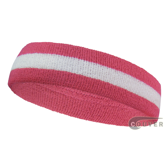 Bright Pink White Striped COUVER Head Sweatbands Wholesale 12PCS