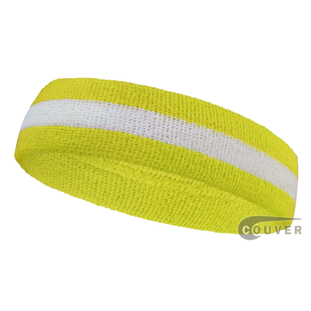 Bright yellow white bright yellow headband sweat 2color striped