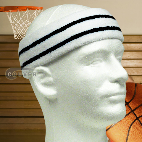 Large Basketball Sweat Headband Pro Black Stripe in White 3PCs