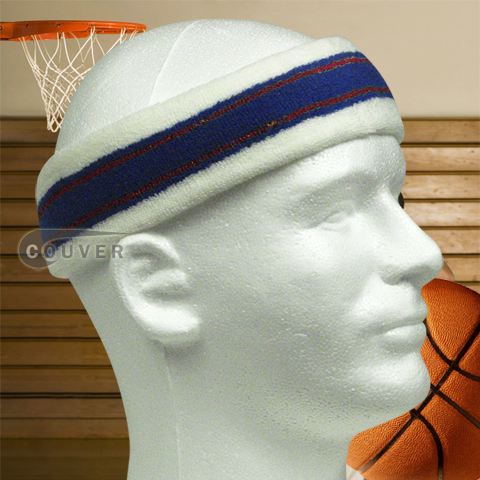 Larger Basketball Headband Pro Multi Color White Blue Red 3PCS