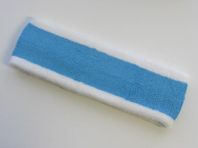 Sky Blue with White trim Large Basketball Head Sweatband