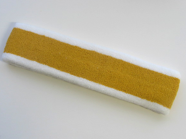 Gold with White trim Large Basketball Head Sweatband