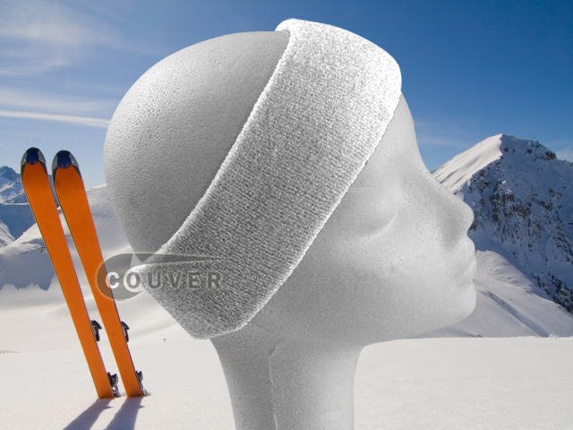 Couver White Ski Snowboard Winter Headbands Wholesale 2PCS
