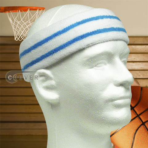 Wide Basketball Sweat Headband Pro SkyBlue Stripe in White 3PCs