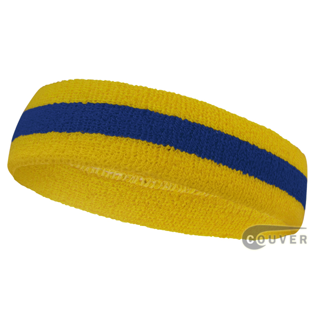 Wholesale Yellow Blue Yellow Striped Sport Head bands [12piece]