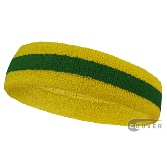 3ac43d9dabcc Green Yellow Stripes Sports Sweat Head band Basic  12 pieces ...