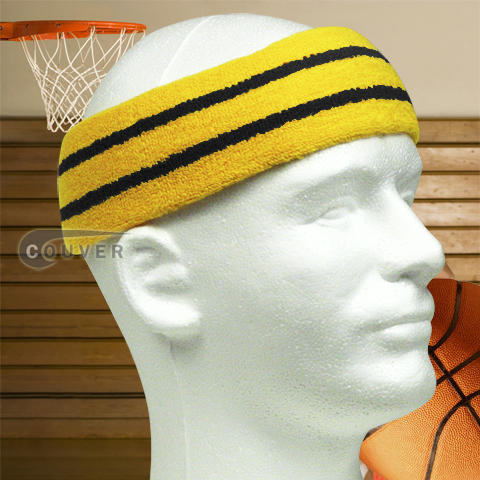 Wide Basketball Sweat Headband Pro Black Stripe in Yellow 3PCs