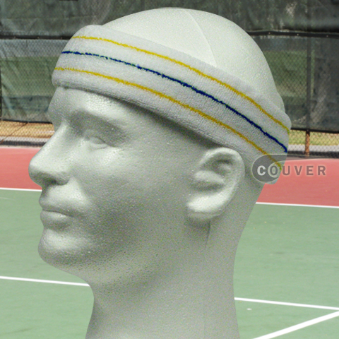 Yellow Blue Yellow on White Large Tennis Head Sweatbands 3PC