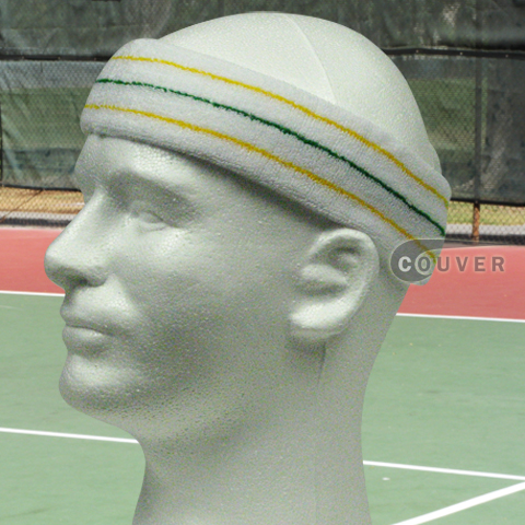 Yellow Green Yellow on White Large Tennis Head Sweatbands 3PC
