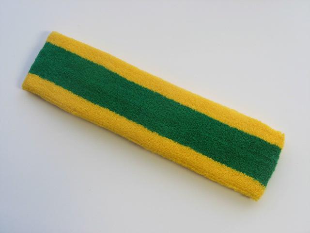 Green with Yellow trim Large Basketball Head Sweatband