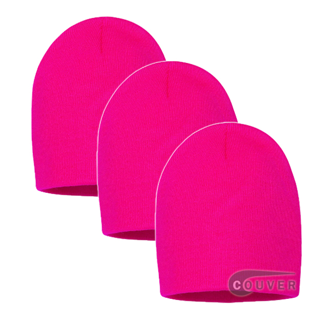Hot Pink 8inch Acrylic Knit Beanies Cap 3Pieces Bulk Sale