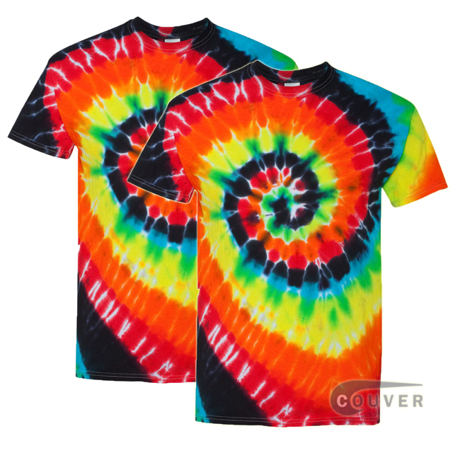 Tie-Dyed Short Sleeve T-Shirt 2 Pieces Set - Illusion Multi color