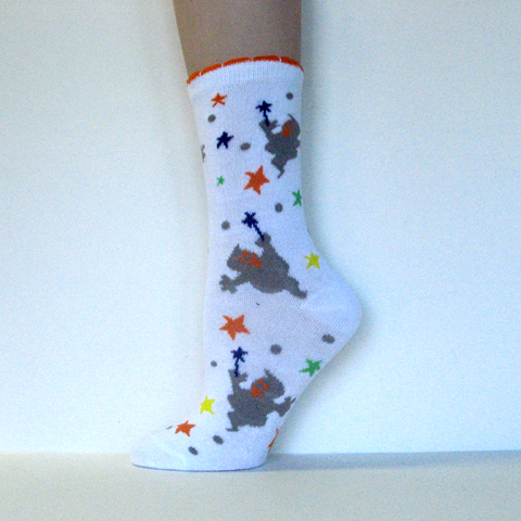 Halloween Kids Youth White Ankle Socks Ghosts and Stars [1pair]