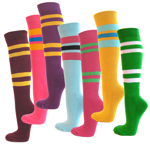 Knee high striped socks bright colors