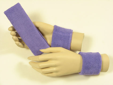 Lavender color sports headband Lavender wristbands set [3sets]
