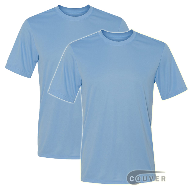 Hanes Short Sleeve Cool Dri UPF 50+ Performance Light Blue -2Piece Set