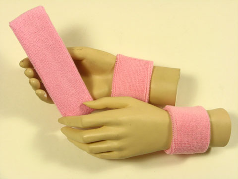 Light pink sports headband Light pink sweat wristbands set [3set