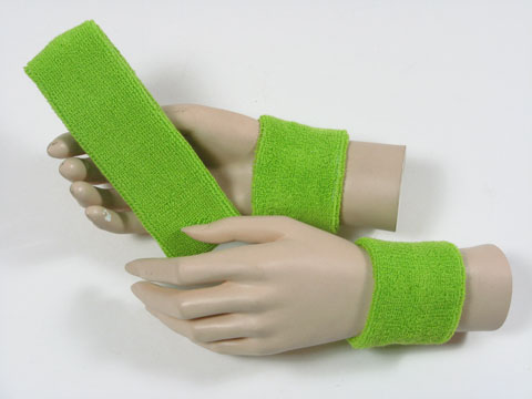 Lime green sports headband Lime green sweat wristbands set [3set