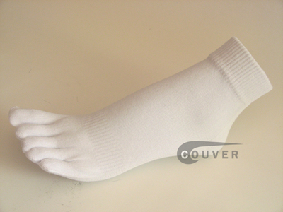 White COUVER 5finger Toed Ankle Toe Socks Wholesale, 6PRs