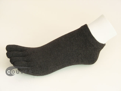 Charcoal Gray (Grey) no show 5Finger Toe Socks from Couver, 6PRS