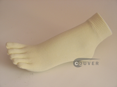 Ivory 5finger Toed Ankle Toe Socks from COUVER Wholesale, 6PRs