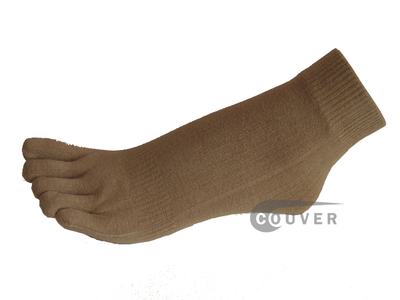Taupe 5finger Toed Ankle Toe Socks from COUVER Wholesale, 6PRs