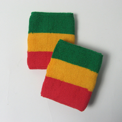 Green yellow red rasta sweat wristbands terry wholesale