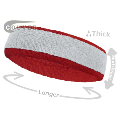 White with Red Large  Basketball Head Sweatband 3PIECES