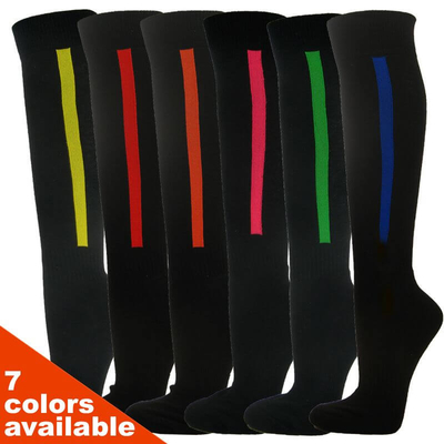 Couver Premium Quality Baseball Black Knee High Socks w/ Vertical Stripe