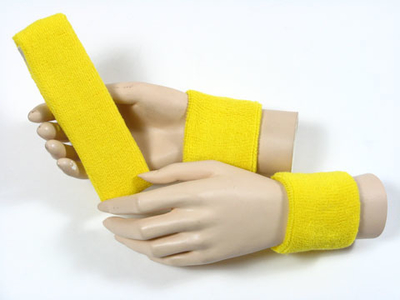 Bright yellow sports headband Bright yellow wristbands set [3set
