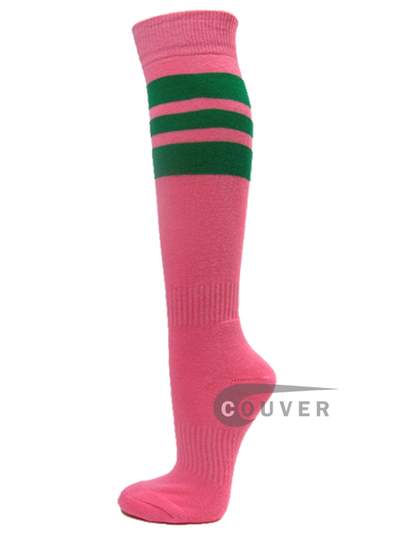 Pink COUVER Sports/softball socks with 3 green stripes 3PAIRs