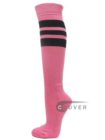 Pink COUVER Sports/Softball socks with 3 black stripes 3PAIRs